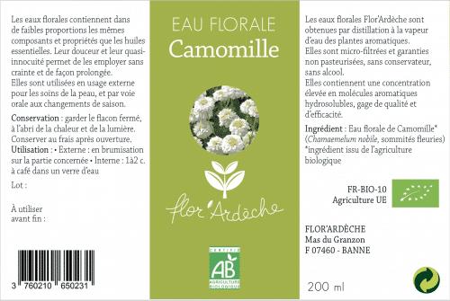 Eau florale Camomille Flor'Ardèche étiquette 2018