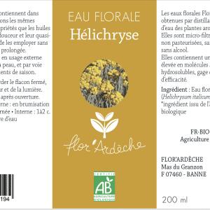 Eau florale Hélichryse Flor'Ardèche étiquette 2018