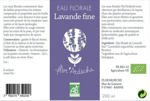 Eau florale Lavande fine Flor'Ardèche étiquette 2018