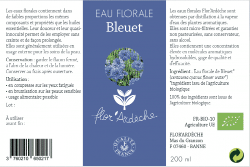 Eau florale de Bleuet Flor'Ardèche étiquette 2019